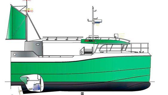 Hybridfiskebåden er konstruert som en vanlig sjark.