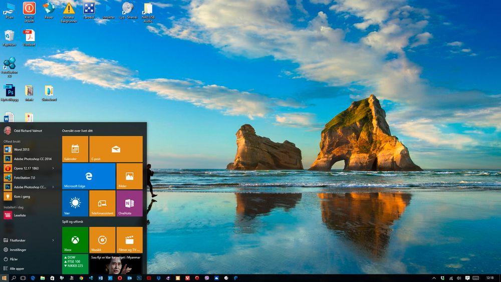 Problemfritt: Det er litt for tidlig å dømme, men vi har ikke møtt på noen problemer med nye Windows 10. Alt virket som det skulle og i tillegg har vi fått all den nye funksjonaliteten. Ikke minst den etterlengtede startknappen