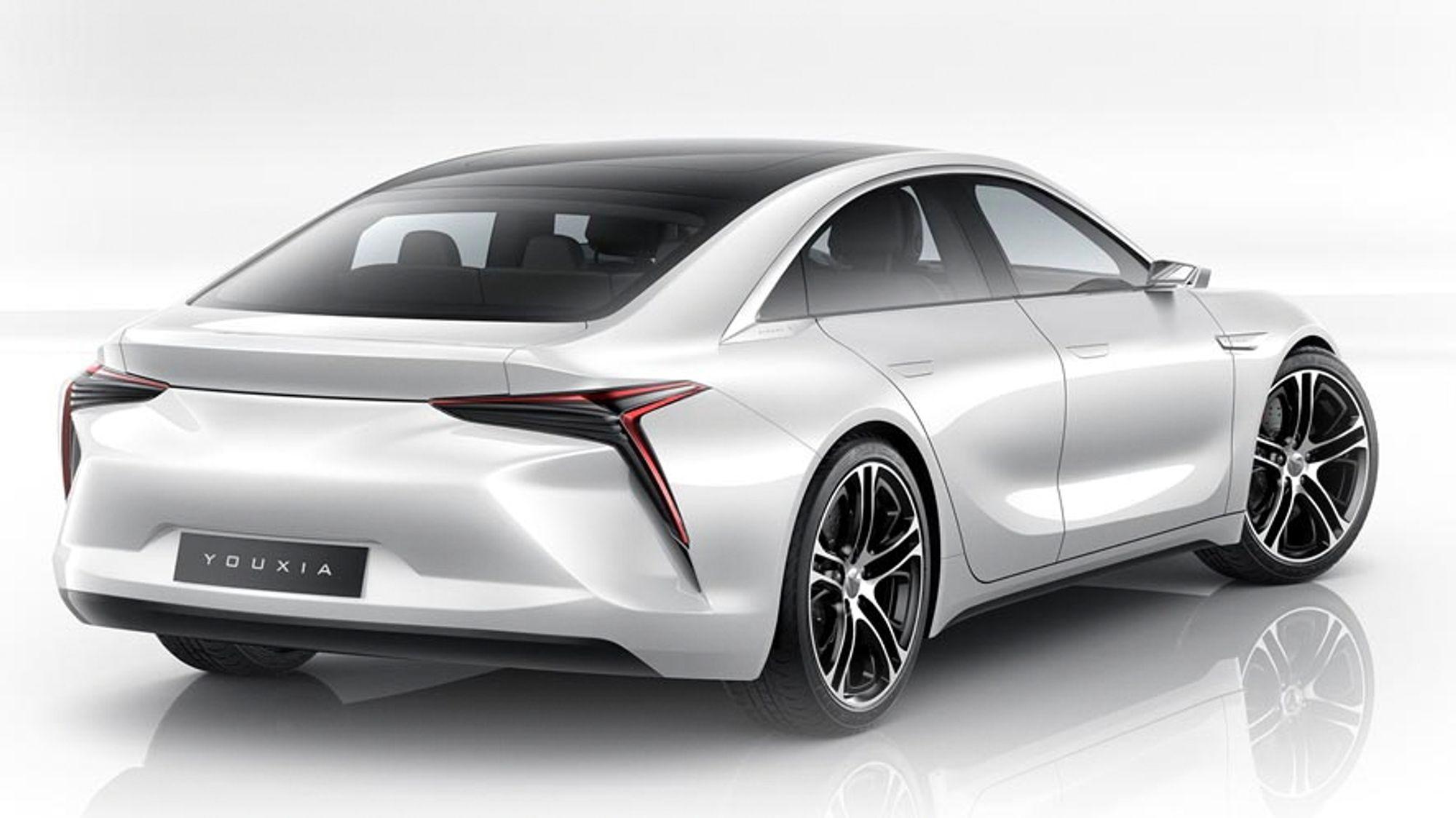 Kun detaljer skiller Youxia X og en Tesla model S.