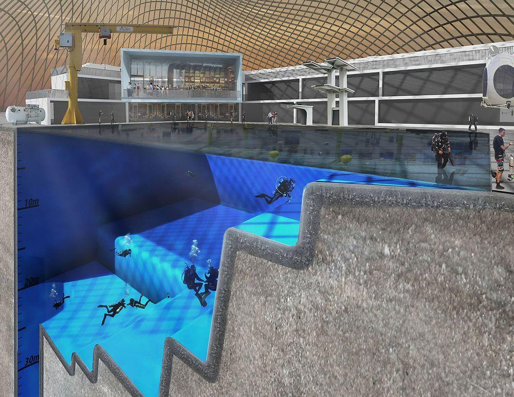 Slik ser planene for Blue Abyss-bassenget som kan komme til å bygges ved University of Essex ut. På det dypeste vil bassenget være 50 meter dypt.