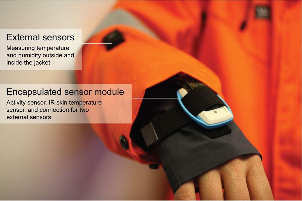 Her er en av prototypene som nå skal videreutvikles for å overvåke arbeidere i arktisk klima.