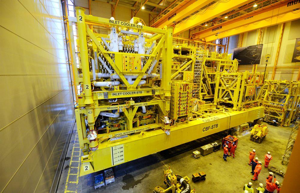 Åsgard gasskompresjonsanlegg i hallen til Aker Solutions.