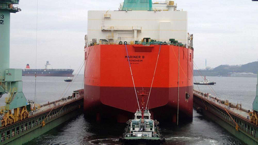 Her sjøsettes Mariner B, lagerskipet som kan lagre 850.000 fat olje, og som skal ligge ved Mariner-feltet operert av Statoil på britisk sokkel.