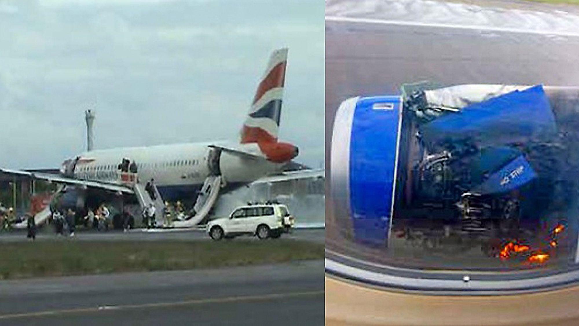 Her evakueres de 75 passasjerene fra A319-131-flyet fra British Airways. Til høyre er den høyre motoren rett etter landing.