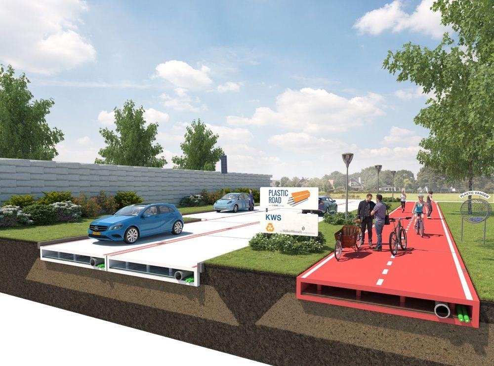 «Plastic Road» er et veidekke lages av hundre prosent resirkulert materiale, nærmere bestemt brukte plastflasker. Rotterdam ønsker å teste ut konseptet i en pilot.