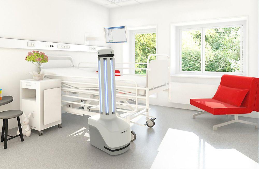 Den autonome roboten bruker UV-lys for å fjerne bakterier.