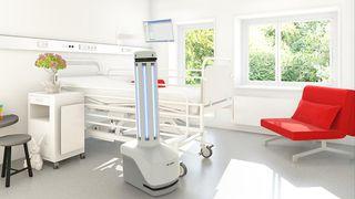 Denne roboten skal kunne desinfisere et sykehusrom på 15 minutter