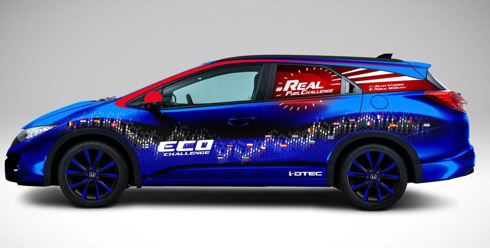 For dem som bruker rare enheter brøt Honda Civic Tourer 1,6 i-DTEC ei grense/oppnådde et rundt tall: 100,31 mpg var gjennomsnittsforbruket på EU-rundreisen.0,28 liter på mila går det også an å si.