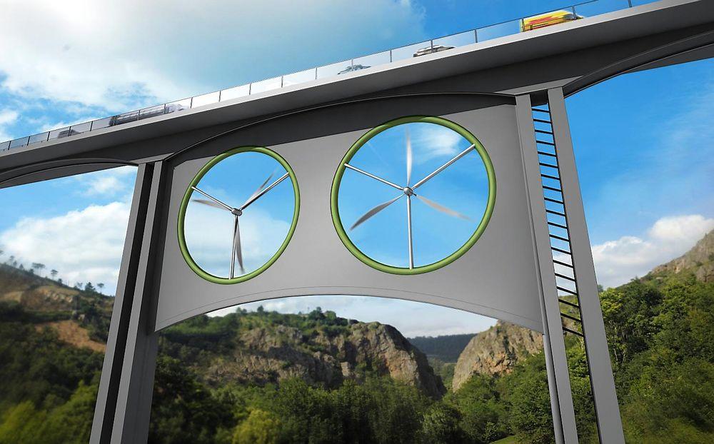 To vindturbiner på viadukten gir best likevekt, både når det gjelder det strukturelle og det elektriske.
