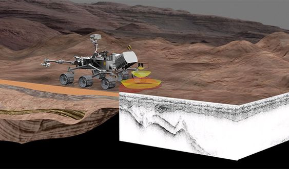 Illustrasjon av hvordan Rimfax vil operere på Mars om seks år fra nå.