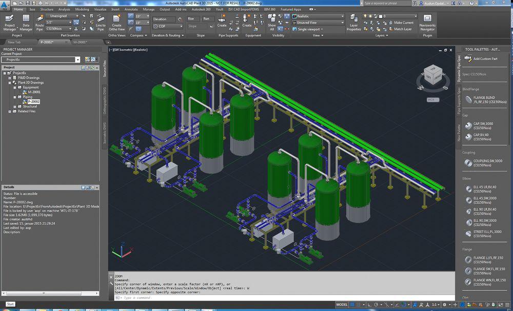 Komplekst: Plant3D-modell viser kilde-modellen i AutoCAD Plant 3D. Den kan enkelt konverteres til Aveva PDMS med Norconsults nye verktøy.