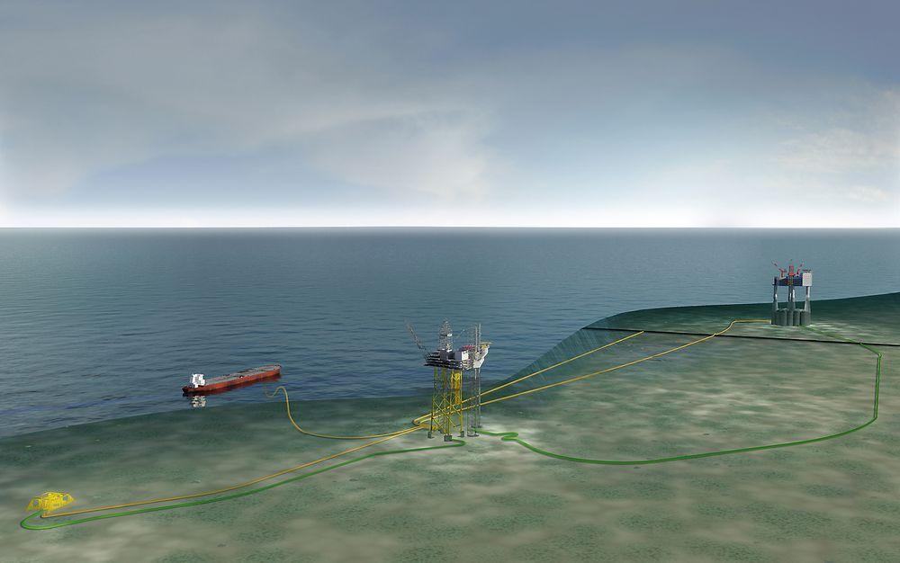 Gina Krog-feltet bygges ut med oljeeksport fra flytende lager to kilometer fra plattformen. Gassen eksporteres via Sleipner (i bakgrunnen). Nå er Gina Krog også forsinket fra Sør-Korea.