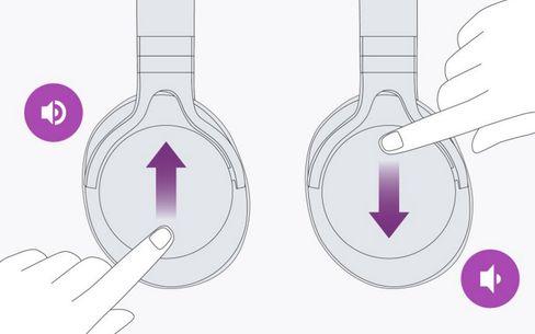 Med blåtannsettet kan du justere volum, veksle mellom spor og ta telefonsamtaler, alt fra den berøringssensitive høyre øreklokken. Kontrollen er imidlertid noe upresis.
