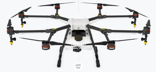 Slik ser dronen ut med rotorene ute.