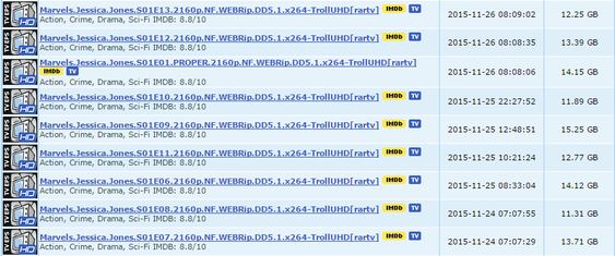 Netflix' nye serie Jessica Jones har dukket opp i 4K. Episodene er på godt over 10 GB hver.