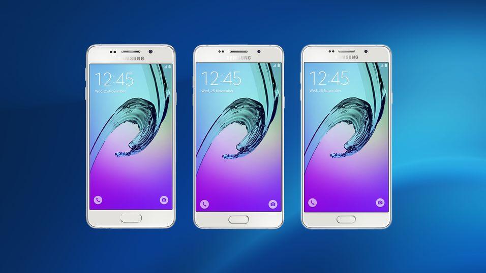 Dette er de nye Galaxy A3-, A5- og A7-modellene. Som før er de utseendemessig identiske.