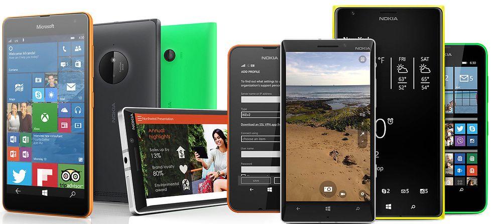 Lumia-telefoner fra Microsoft og Nokia.