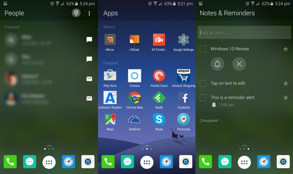 Skjermbilde av menyene. Spesielt skjermen til høyre, med påminnelser, skal være nokså unikt sammenlignet med andre Android-launchere.