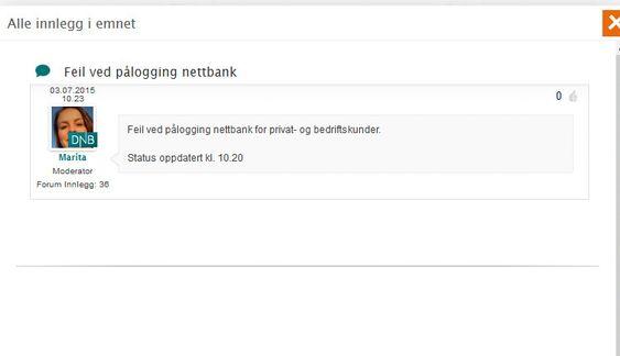 DNB melder om innloggingsproblemer i nettbanken.