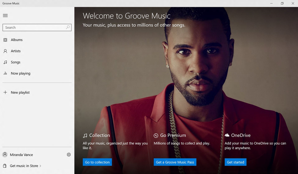 Slik ser Groove Music ut i Windows 10.