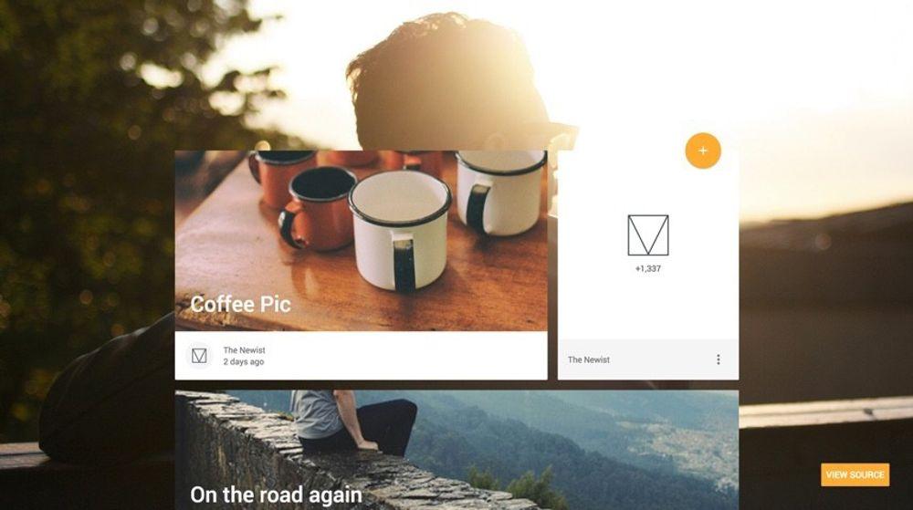 Et eksempel på en blogg som bruker Material Design Lite.