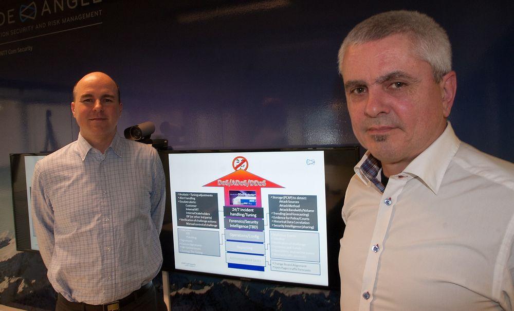 Dataangrepet mot banksektoren, Telenor, Netcom og flyselskapene i fjor sommer kunne vært stanset, mener (fra v.) Eirik Knutssen Moen og Arnt Ove Nedrebø i NTT Com Security.