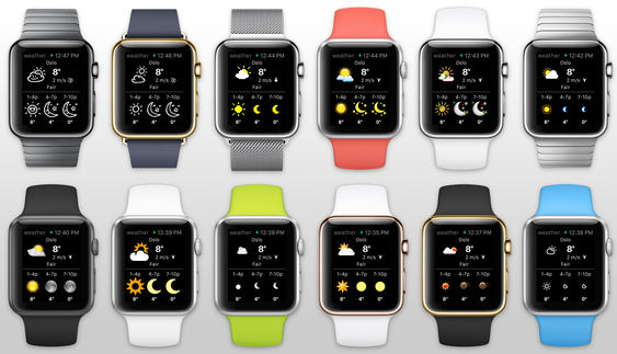 Widget Weather på Apple Watch. Appen har vært ferdigutviklet siden februar.