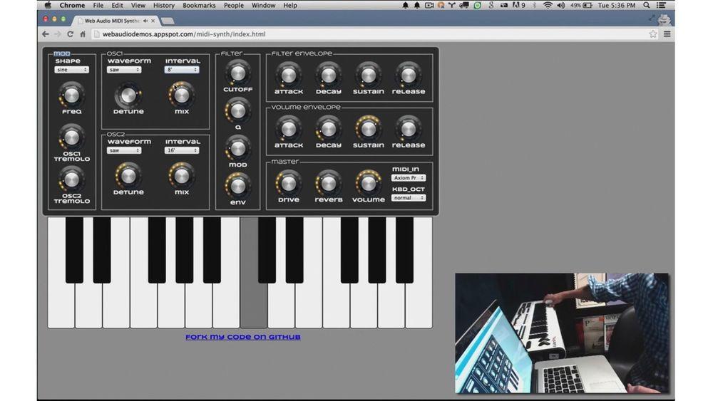 Med Web MIDI API kan webapplikasjones kommunisere med MIDI-kompatibelt utstyrt, for eksempel keyboards.