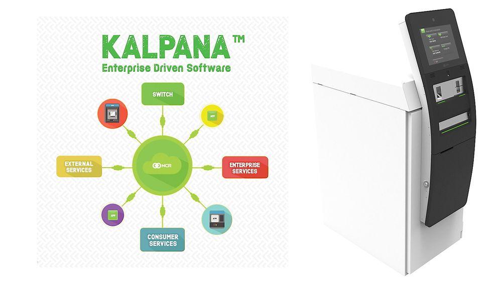 Til høyre minibanken NCR Cx110, som er basert på Kalpana-systemet til selskapet.