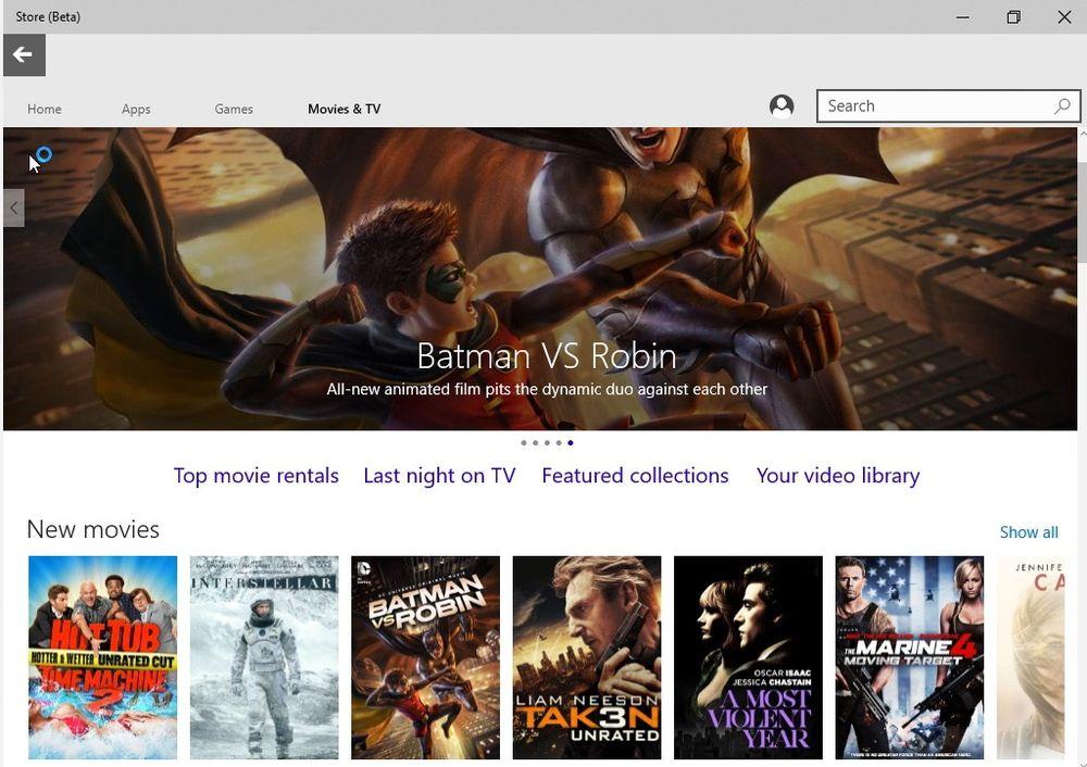 Både film og apper tilbys i betaversjonen av Store i Windows 10.