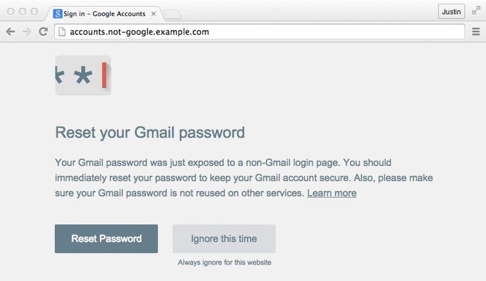 Det er altfor enkelt å hindre at Chrome-utvidelsen Passordvarsel varsler brukeren om at brukeren har tastet inn sitt Google-passord på et potensielt skadelig sted.