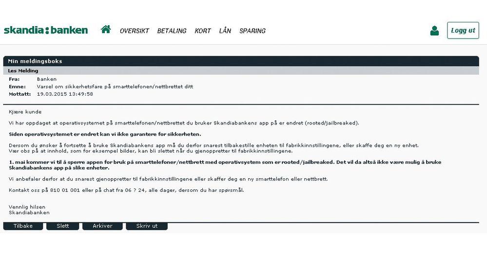 ffc5782ba Sperrer tilgangen til mobilbank-app - Digi.no