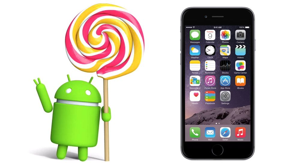 Android 5.0 Lollipop og iPhone med iOS 8.