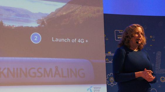 Berit Svendsen, sjefen for Telenor Norge, kunngjorde utrulling av raskere 4G-nett.