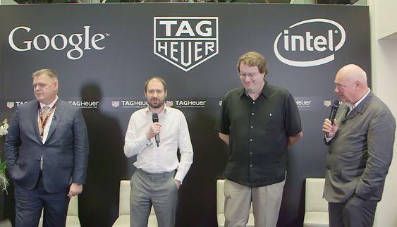 Fra dagens pressekonferanse. Fra venstre Guy Semon i TAG Heyer, David Singleton i Google, Mike Bell i Intel og Jean-Claude Biver i TAG Heuer.