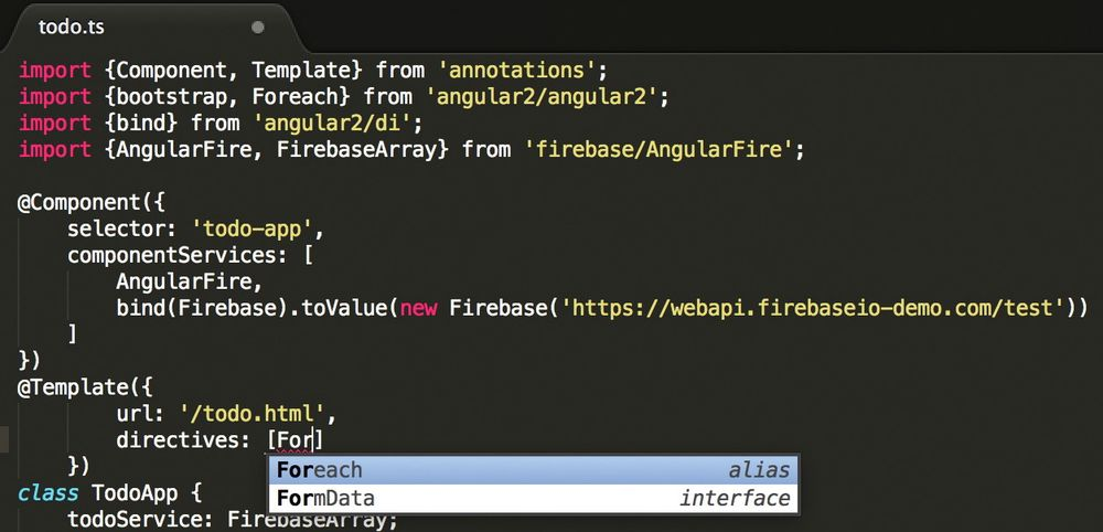 Autofullføring av TypeScript i Sublime 3 for Angular 2.