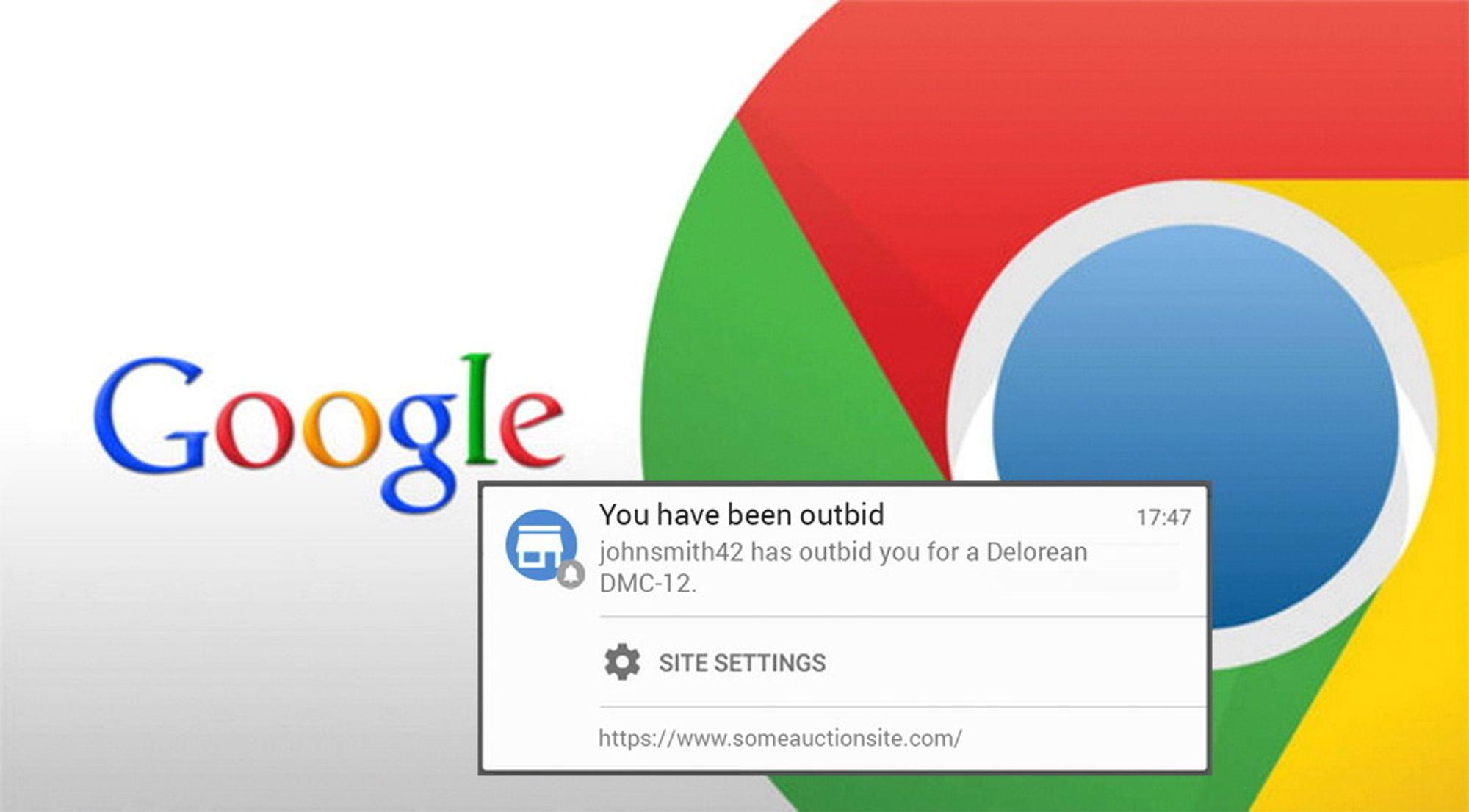 Google Chrome med push-melding
