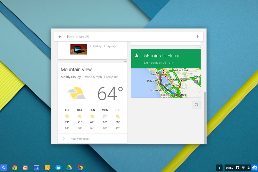 Google Now nå integrert i Chrome OS.