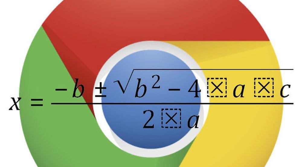 Google Chrome kan nå gjengi matematiske uttrykk som dette, når de er beskrevet med språket MathML.