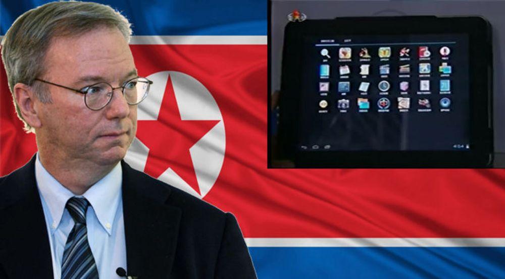 Googles styreleder Eric Schmidt har vært fire dager i Nord-Korea. Der fikk han blant annet prøve det nordkoreanske Android-baserte nettbrettet Samjiyon. Bildet av brettet er hentet fra Northkoreatech.org som bemerker at ikoner for e-post og andre nettjenester mangler, i samsvar med nordkoreanske sensurbestemmelser.