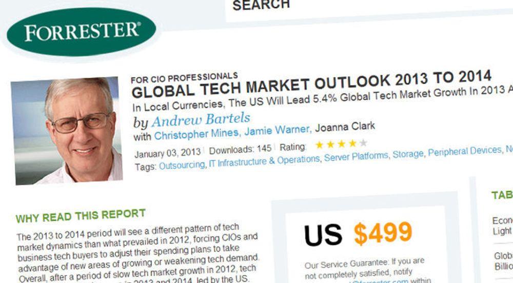 Forrester tror USA kommer seg, mens Europa opplever fortsatt IT-stagnasjon i 2013.