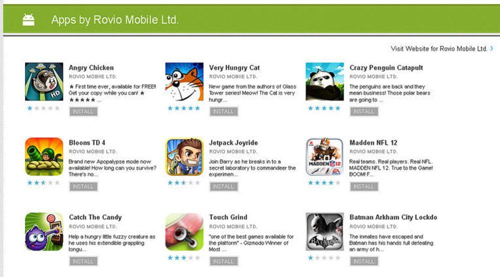 Noen av applikasjonene Rovio MobIle Ltd har publisert i Android Market. Samtlige er nå fjernet.
