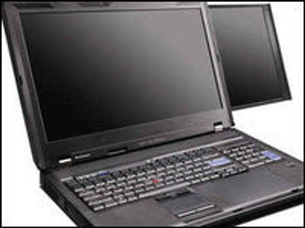 Lenovo Thinkpad W700ds med to skjermer, tegnebrett og numerisk tastatur.