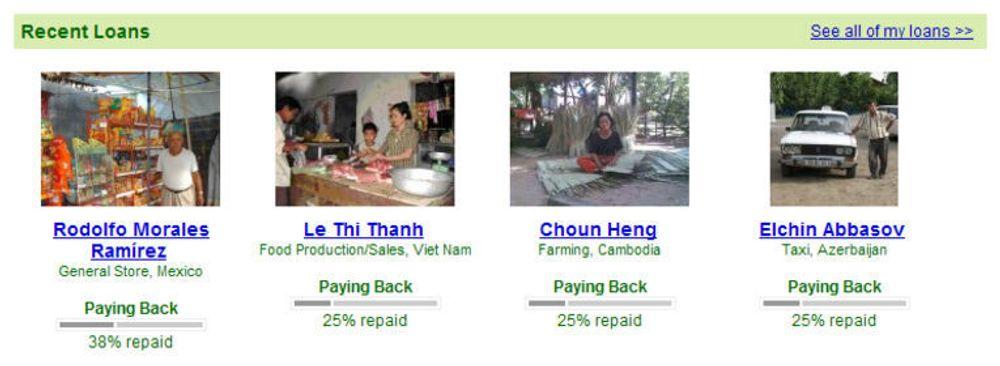 Gjennom Kiva.org kan enkeltpersoner låne ut små beløp som får stor betydning. De fleste lånemottagere er også gode betalere.