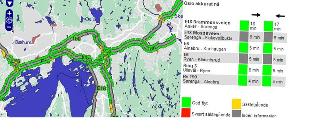 P4s nye nettjeneste viser trafikkflyten i Oslo og omegn.