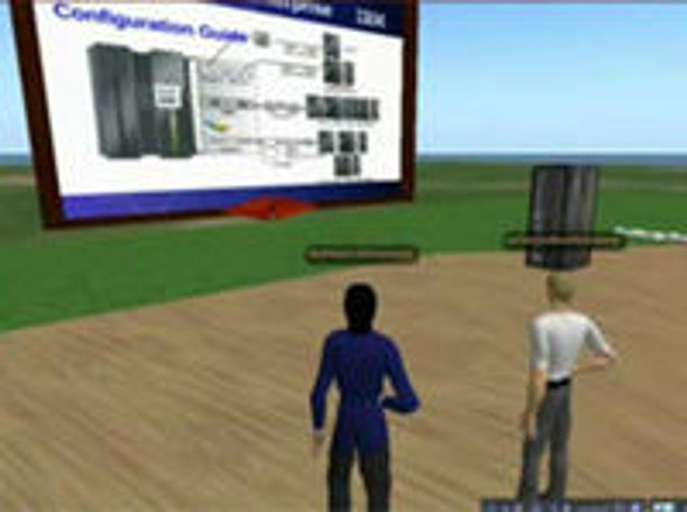 Samtalepartnerne begynner å diskutere et problem i Sametime, og blir så enige om å gå begge to til et virtuelt møte der de sammen kan konsultere en håndbok. Bildet til høyre viser hvordan de får fram en 3D-modell av serveren der problemet ligger, og trekker fram en modul som de må se nærmere på.