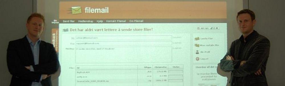 Nå skal det bli slutt på retur av e-post grunnet for store vedlegg: Stian Tonaas Fauske (til v.) og Njål A. Gjermundshaug. (Foto: selskapet)