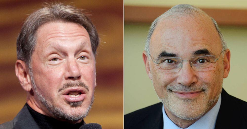 Larry Ellison (til venstre) vil sørge for mest mulig pr i en sak der SAP for lengst har erkjent skyld, og lover å legge fram bevis for at tidligere SAP-sjef Leo Apotheker ledet an i industrispionasje.