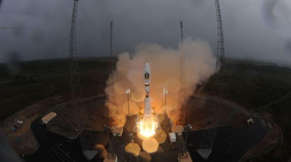 Fra oppskytingen med Sojuz-raketten fra Fransk Guyana fredag kveld.