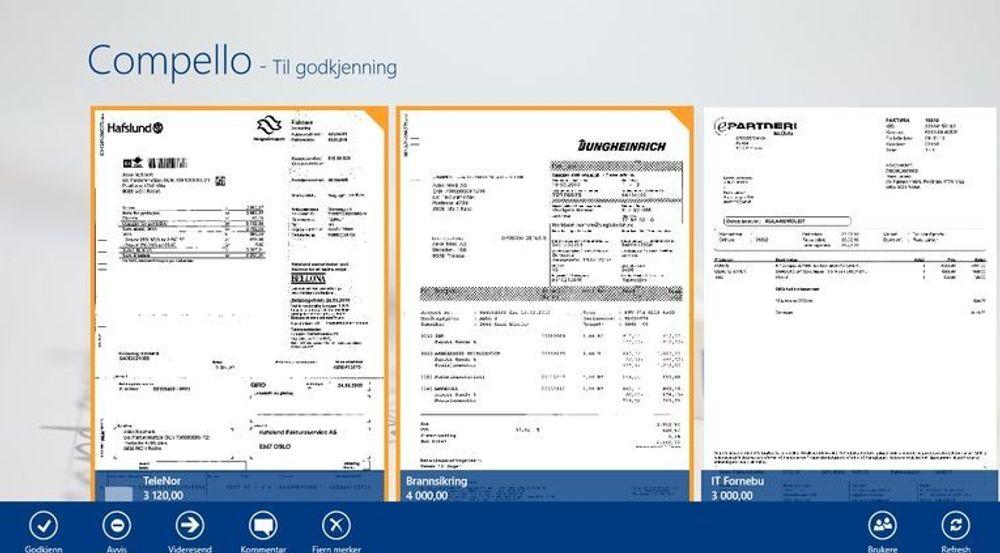 Compellos Windows 8-applikasjon for behandling av elektroniske fakturaer. Bildet viser forskjellige innkomne fakturaer som brukeren kan godkjenne.